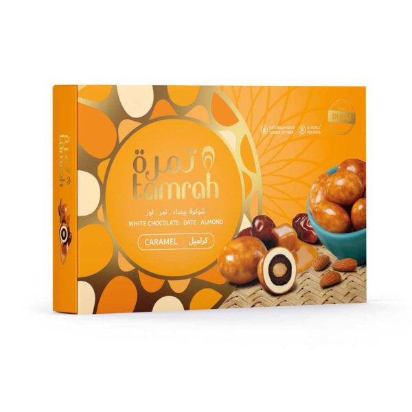 TAMRAH DATE WITH ALMOND COVERED WITH CARAMEL CHOCOLATE BOX 310 GM