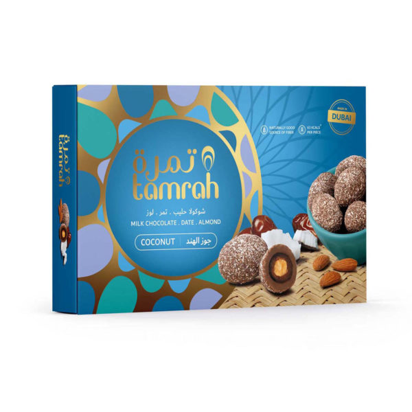 TAMRAH DATE WITH ALMOND COVERED WITH COCONUT CHOCOLATE BOX 230 GM