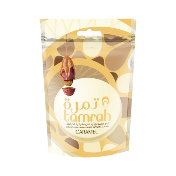 TAMRAH DATE WITH ALMOND COVERED WITH CARAMEL CHOCOLATE BAG 250 GM