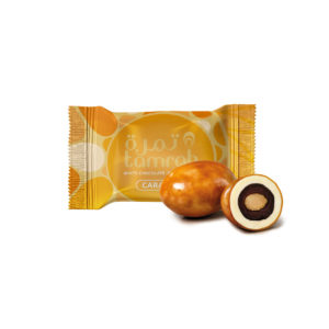 TAMRAH DATE WITH ALMOND COVERED WITH CARAMEL CHOCOLATE  BOX 70 GM(12 PCS)
