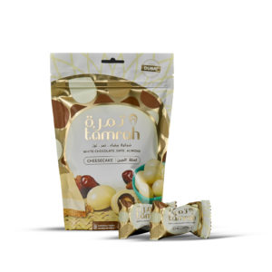 TAMRAH DATE WITH ALMOND COVERED WITH CHEESECAKE CHOCOLATE BAG	100 GM