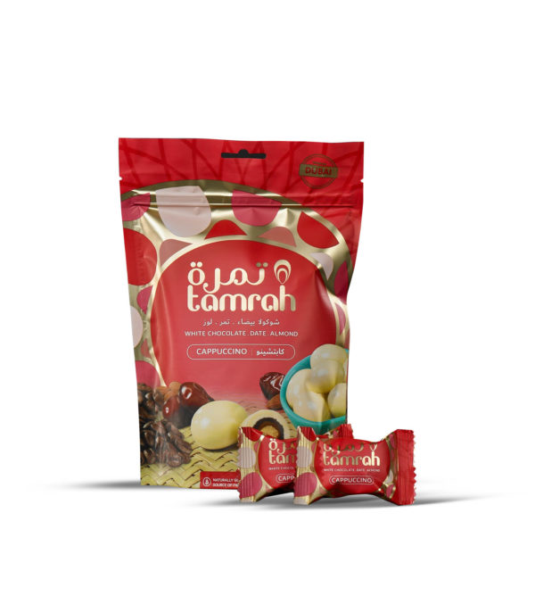 TAMRAH DATE WITH ALMOND COVERED WITH CAPPUCCINO CHOCOLATE BAG 100 GM