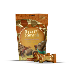 TAMRAH DATE WITH ALMOND COVERED WITH MILK CHOCOLATE BAG 100 GM