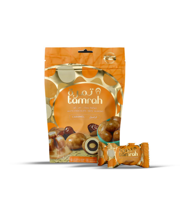TAMRAH DATE WITH ALMOND COVERED WITH CARAMEL CHOCOLATE BAG 100 GM