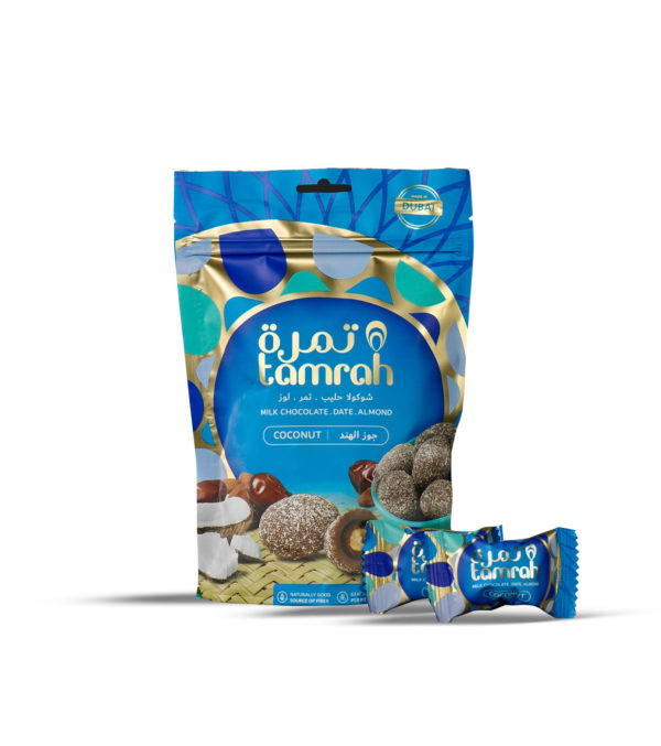 TAMRAH DATE WITH ALMOND COVERED WITH COCONUT CHOCOLATE BAG 100 GM