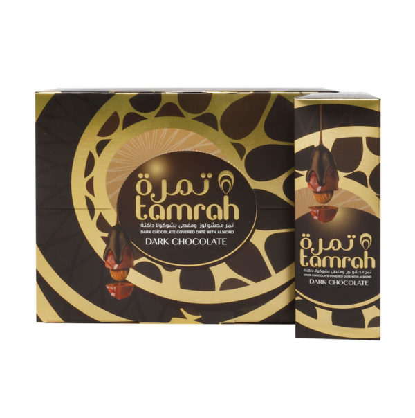 TAMRAH DATE WITH ALMOND COVERED WITH DARK CHOCOLATE BOX 40 GM(12 PCS)
