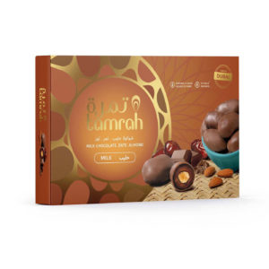 TAMRAH DATE WITH ALMOND COVERED WITH MILK CHOCOLATE BOX 180 GM