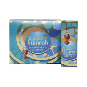 TAMRAH DATE WITH ALMOND COVERED WITH COCONUT CHOCOLATE BOX 60 GM(12 PCS)