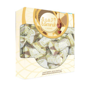 TAMRAH DATE WITH ALMOND COVERED WITH CARAMEL CHOCOLATE BOX 200 GM