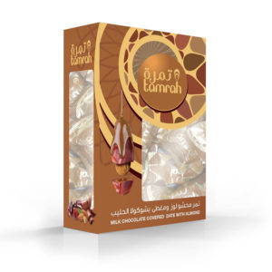 TAMRAH DATE WITH ALMOND COVERED WITH MILK CHOCOLATE BOX 400 GM