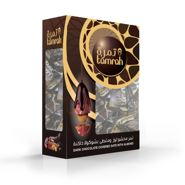 TAMRAH DATE WITH ALMOND COVERED WITH DARK CHOCOLATE BOX 400 GM