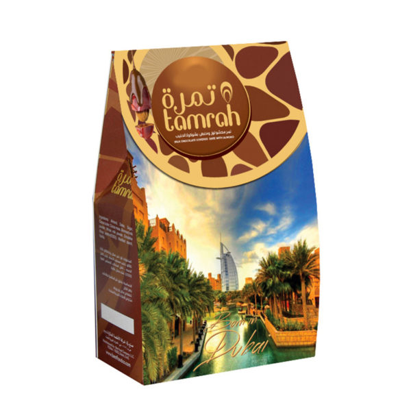 TAMRAH DATE WITH ALMOND COVERED WITH MILK CHOCOLATE BOX 250 GM
