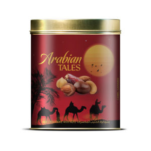 ARABIAN TALES NUTS & DATES COVERED WITH MILK CHOCOLATE- OVAL TIN 200 GM