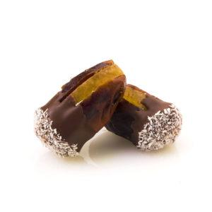 KHODARI DATE WITH ORANGE PEEL DIPPED IN MILK CHOCOLATE & COCONUT