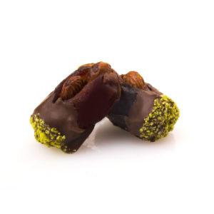 KHODARI DATE WITH CARAMELIZED ALMOND DIPPED IN MILK CHOCOLATE & PISTACHIO