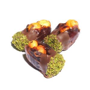 KHODARI DATE WITH CARAMELIZED HAZELNUT DIPPED IN MILK CHOCOLATE & PISTACHIO