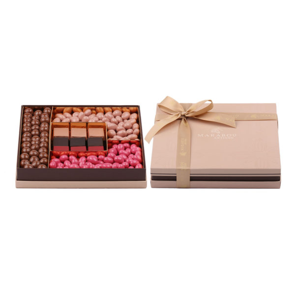 LARGE SQUARE BOX FILLED WITH DRAGEE AND MOLDED CHOCOLATE